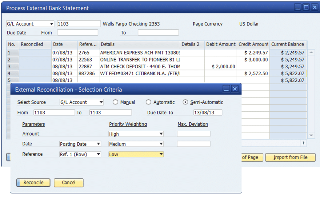Easy Rec Bank Reconciliation SAP Business One