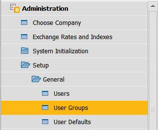 Administration drop down menu to User Groups